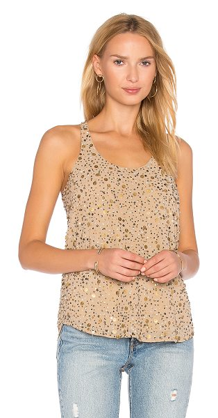 JOIE Jordanne Tank in beige - 100% poly. Dry clean only. Sequined throughout. Curved...