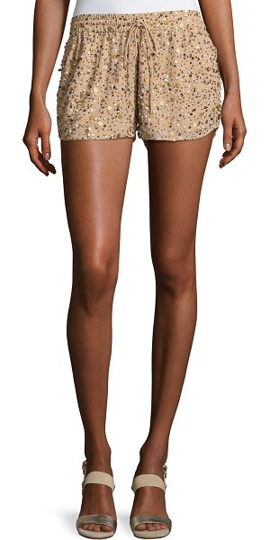 "Joie Joselle Sequin Drawstring Shorts in nude - Joie ""Joselle"" shorts with allover sequin detail...."