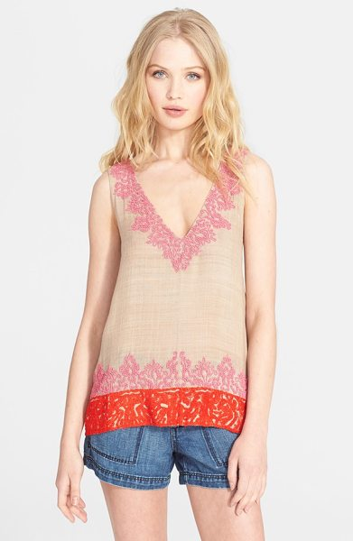 JOIE jules b beaded silk top - Saffron-hued embroidery lends exotic flair to the hem of...