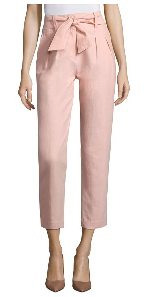Joie june paperbag pants in washed rose - Structured crop pants with feminine self-tie waist...
