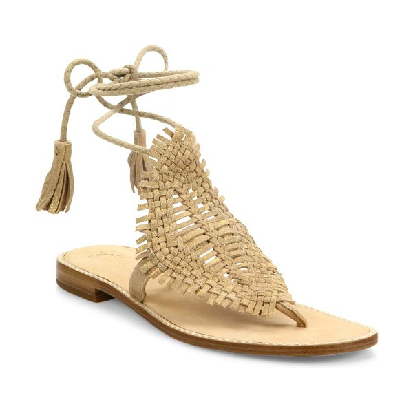 JOIE kacia huarache suede lace-up sandals in warm gold - Boho-chic huarache suede sandal with braided tassel tie....