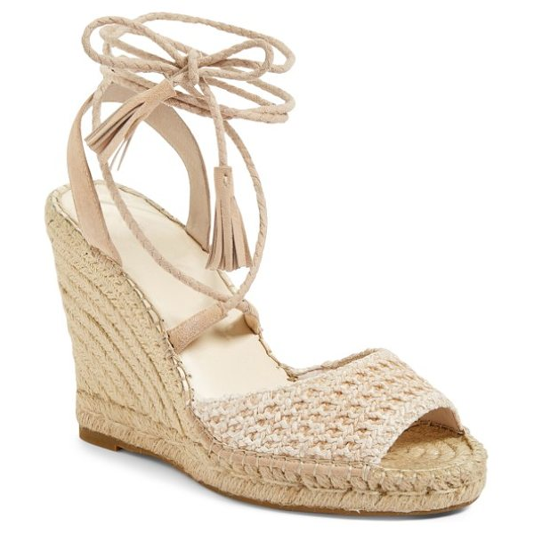 JOIE kacy espadrille wedge sandal in powder raffia - Tightly plaited wraparound laces tipped with tonal...