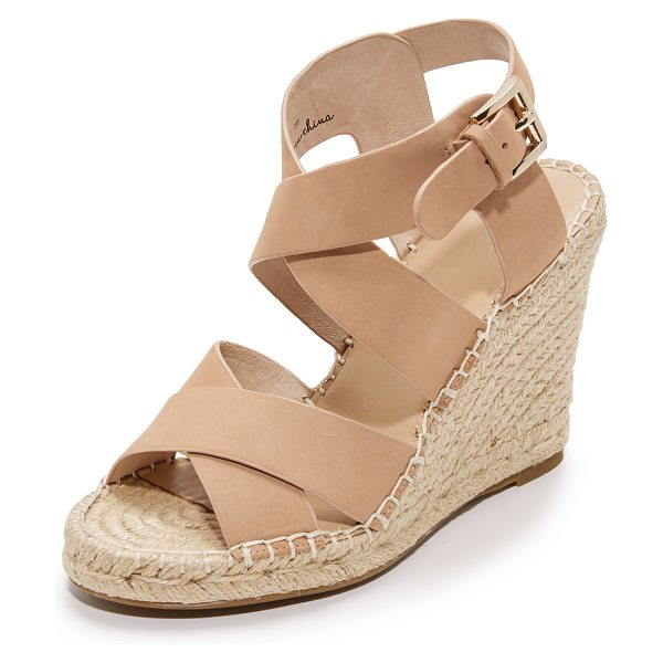 Joie kaelyn wedge sandals in powder - Smooth nubuck Joie sandals styled with wide, crisscross...
