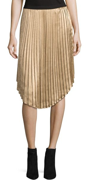 "Joie Kambree Pleated Midi Skirt in gold - Joie ""Kambree"" midi skirt in pleated metallic. Ribbed..."