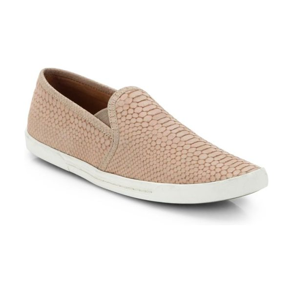 Joie kidmore crocodile-embossed leather sneakers in dustypinksand - A laceless sneaker takes on exotic vibes with...