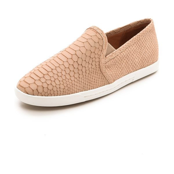 Joie Kidmore slip on sneakers in dusty pink sand - A slim silhouette lends a refined feel to snake embossed...