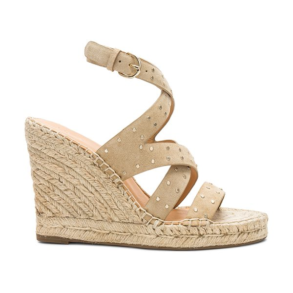 """Joie Korat Wedge in beige - """"Suede upper with rubber sole. Wrap ankle with buckle..."""