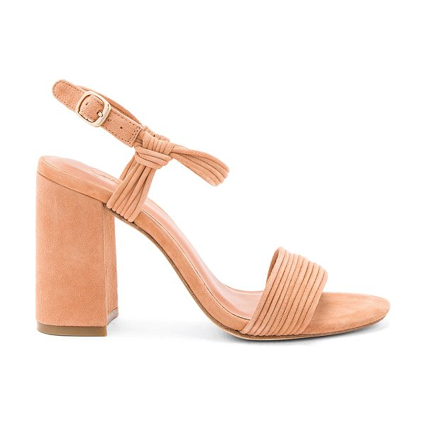Joie Laddie Heel in beige - Suede upper with leather sole. Ankle strap with buckle...