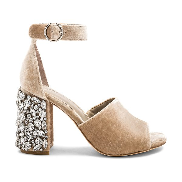 """JOIE Lafayette Embellished Heel in tan - """"Velvet textile upper with leather sole. Ankle strap..."""