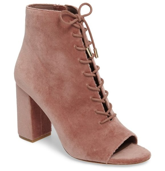 Joie lakia open toe velvet bootie in light mauve - Metal-tipped laces crisscross the open vamp of a...