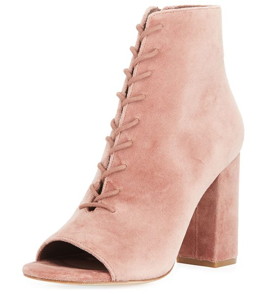 "Joie Lakia Velvet Open-Toe 95mm Booties in light mauve - Joie velvet bootie. 3.8"" covered chunky heel. Open toe...."