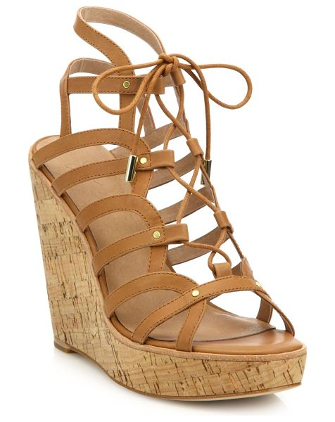 Joie larissa leather lace-up cork wedge sandals in tan - Curvy leather lace-up style set on chunky cork wedge....