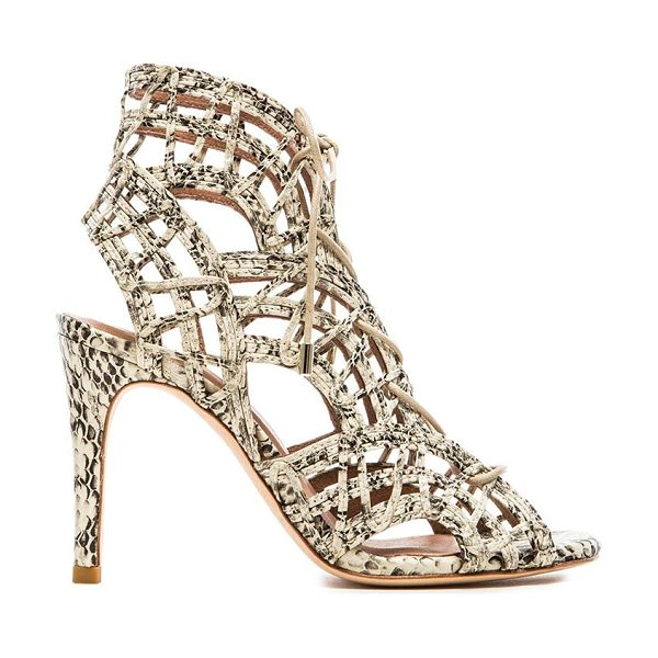 Joie Leah heel in beige - Snake embossed leather upper with leather sole. Heel...