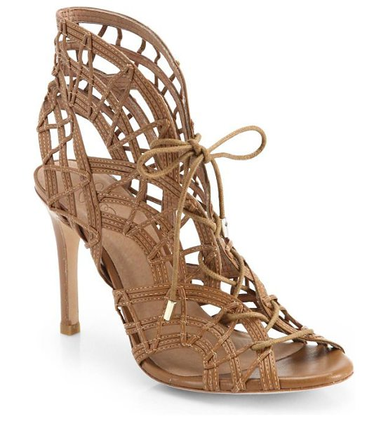 Joie Leah lace-up cage sandals in brown - Intricately woven leather forms a patterned cage...