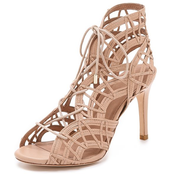 Joie Leah sandals in nude - Skinny, topstitched strips form elegant scallops on...