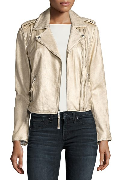 """JOIE Leolani Metallic Leather Jacket in gold - Joie """"Leolani"""" motorcycle jacket in lamb leather with a..."""