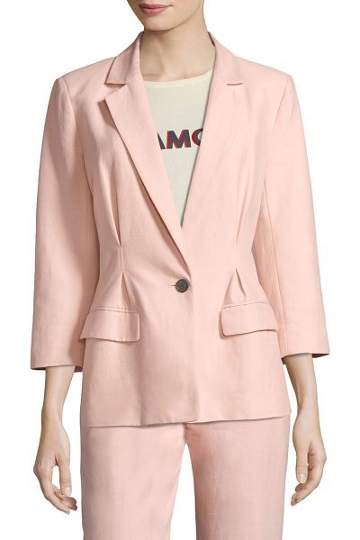 Joie lian blazer in washed rose - Classic blazer crafted from luxe cotton-linen blend....
