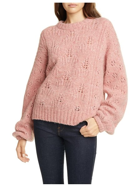 Joie lihui pointelle detail balloon sleeve wool & alpaca sweater in pink