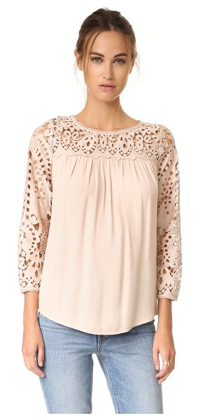 Joie lindy blouse in almond - Tonal lace composes the yoke and long sleeves of this...