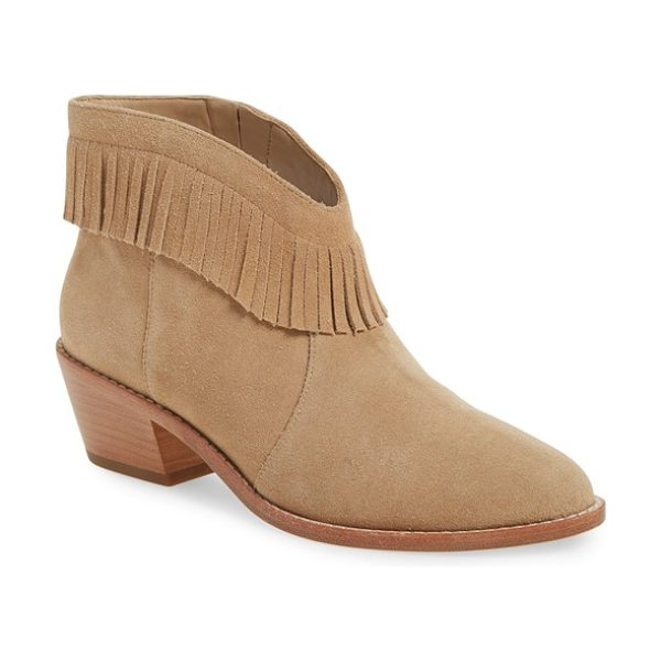 Joie 'makena' fringe bootie in buff calf suede - Fringe trim and a low, stacked heel extend the Western...