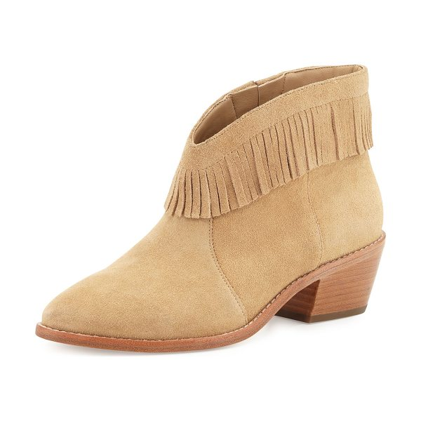 "Joie Makena Suede Fringe Bootie in buff - Joie calf suede bootie with fringe trim. 2"" stacked..."