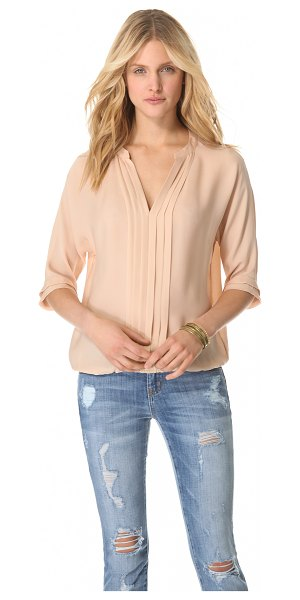 Joie Marru top in dusty pink sand - This silk top features a split V neck and a gathered...