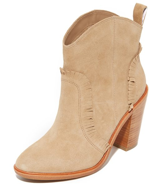 Joie Mathilde booties in buff - Fringed trim adds a western feel to these suede Joie...