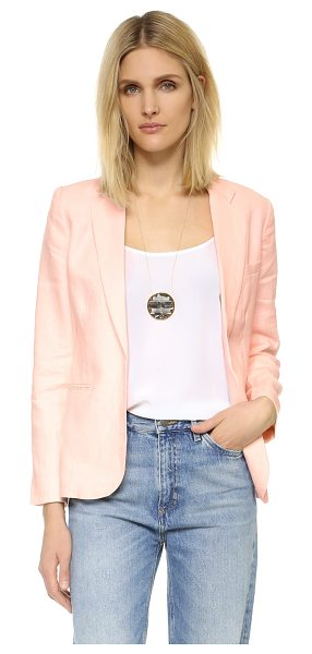 Joie mehira blazer in light apricot - An open placket and vented hem accentuate the relaxed...