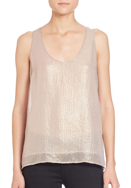 Joie Mirla metallic silk tank in metallicgold - Shimmering semi-sheer silk jacquard...
