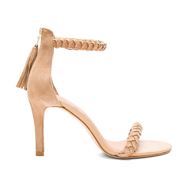 Joie Nia heel in beige - Suede upper with leather sole. Back zip detail and...