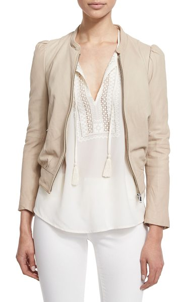 """Joie Oshie Soft Leather Cropped Jacket in bone - Joie """"Oshie"""" soft lamb leather jacket with oblique..."""
