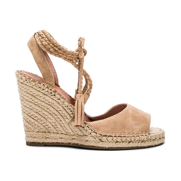 JOIE Phyllis heel - Suede upper with rubber sole. Jute trim. Lace-up fringed...