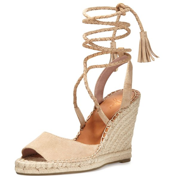 Joie Phyllis Suede Lace-Up Wedge Espadrille Sandal in buff