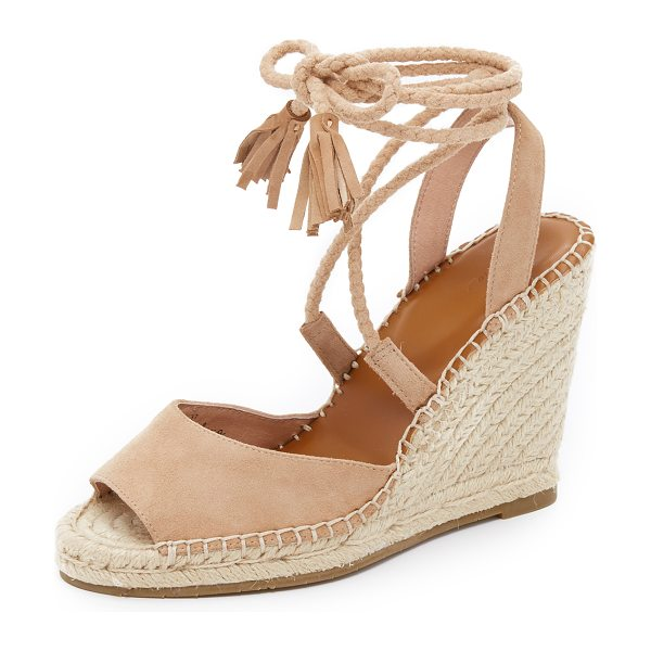 Joie Phyllis wedge sandals in buff - Tassels finish the braided ties on these luxe suede Joie...