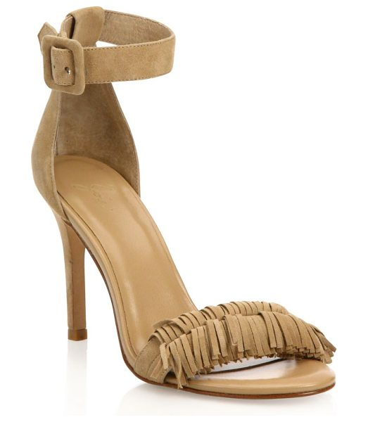 Joie pippi fringed suede ankle-strap sandals in buff - Fringed trim adds fun finish to suede ankle-strap...