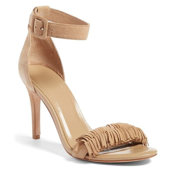 Joie pippi sandal in buff kid suede - A fringed toe strap lends a flirty touch to a breezy...