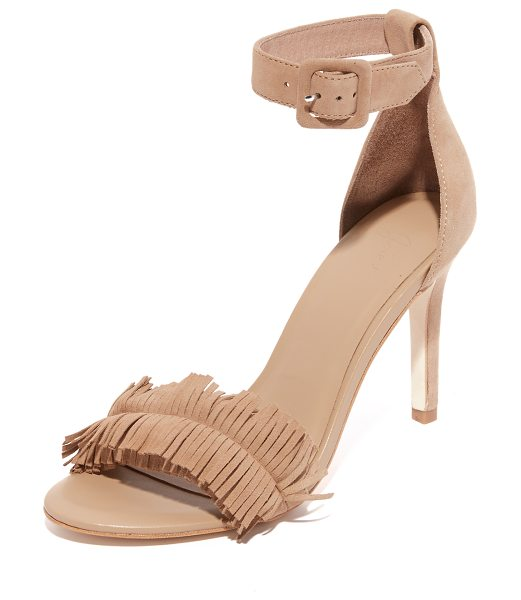 JOIE pippi sandals in buff - Velvety suede Joie sandals styled with a fringed vamp. A...