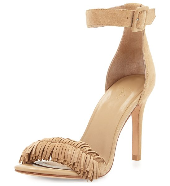 "Joie Pippi Suede Fringe Sandal in buff - Joie d'Orsay sandal in soft, neutral kid suede. 3.75""..."