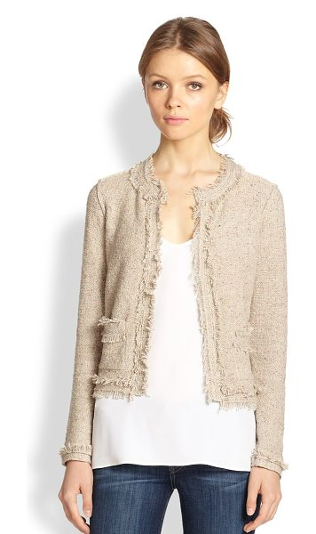 Joie Porsha frayed-edge tweed box jacket in natural - Outlined in frayed edges, the ladylike tweed box jacket...