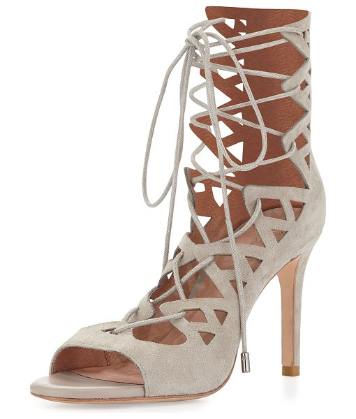 "Joie Quinn suede lace-up sandal in sandstone - Joie caged sandal in suede. 3. 8"" covered heel. Open..."