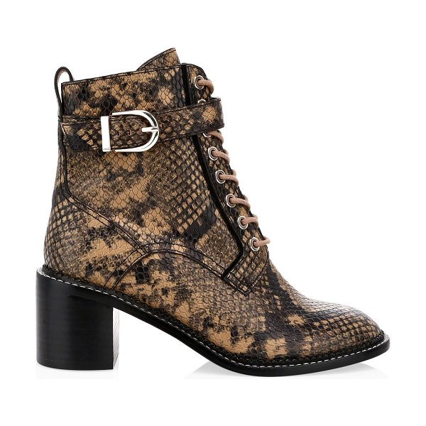 Joie raster block-heel python-embossed leather combat boots in camel