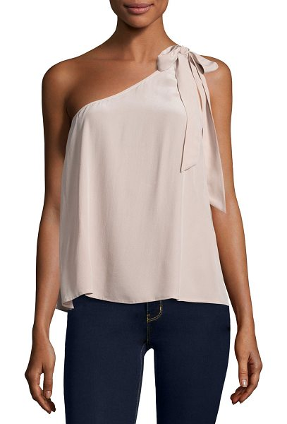 Joie Romana One-Shoulder Silk Blouse in dusty mink