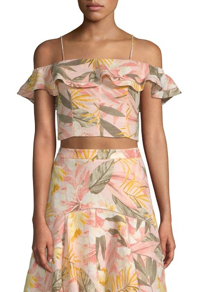 Joie saphira linen cold-shoulder smocked crop top in dusty nude - Ruffled crop top with striking painterly florals....