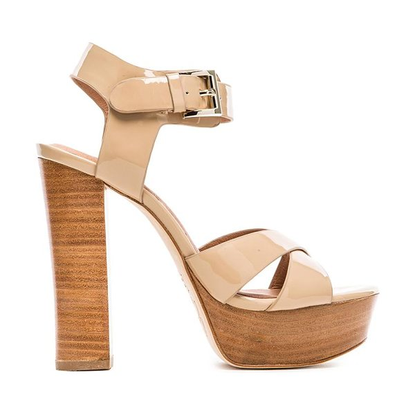 Joie Skyer heel in beige - Patent leather upper with leather sole. Heel measures...