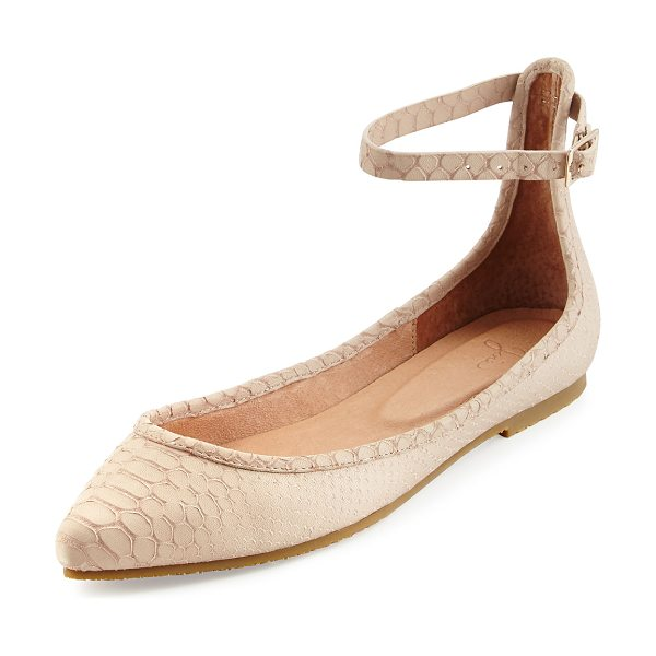 "Joie Temple Ankle-Wrap Ballerina Flat in dust pink sand - Joie snake-embossed leather ballerina flat. 0.3"" flat..."