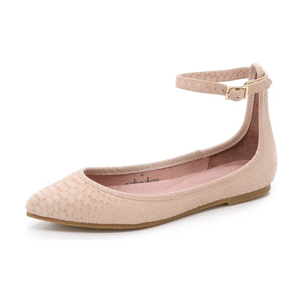 Joie Temple flats in dusty pink sand - Snake embossed suede composes these pointed toe Joie...