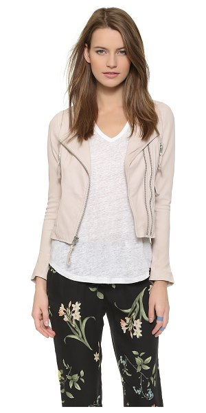 Joie Vivianette leather jacket in soft sand - A washed finish lends time worn softness to this...
