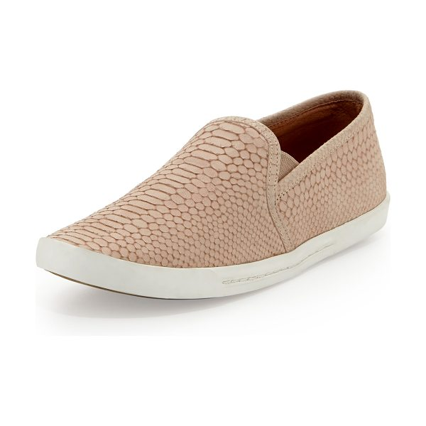 Joie Kidmore Snake-Print Slip-On in dusty pink sand - Joie snake-print suede skate shoe. Gored stretch insets...