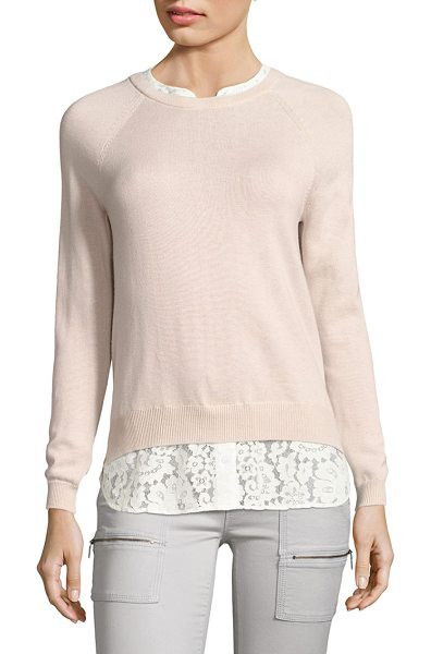 Joie zaan k layered sweater in petal porcelain - Wool-blend sweater finished with floral lace hem....