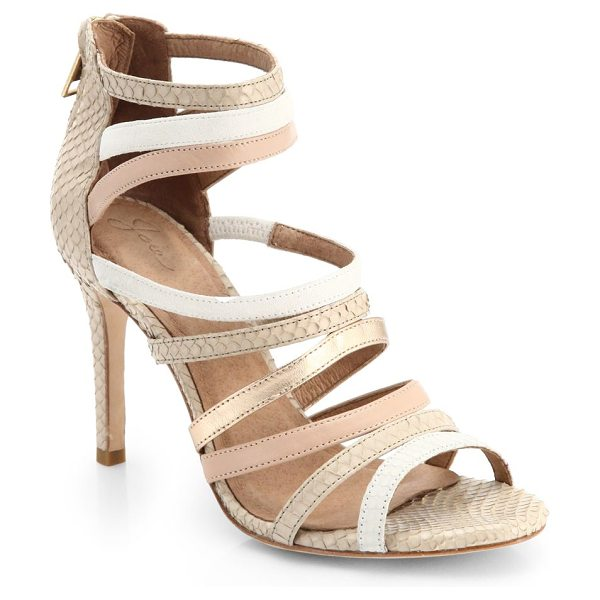 Joie Zee mixed-media strappy sandals in nudemulti - A strappy, snakeskin-embossed sandal secures with...